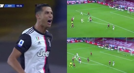 Cristiano volvió a celebrar un gol en jugada. Capturas/ESPN
