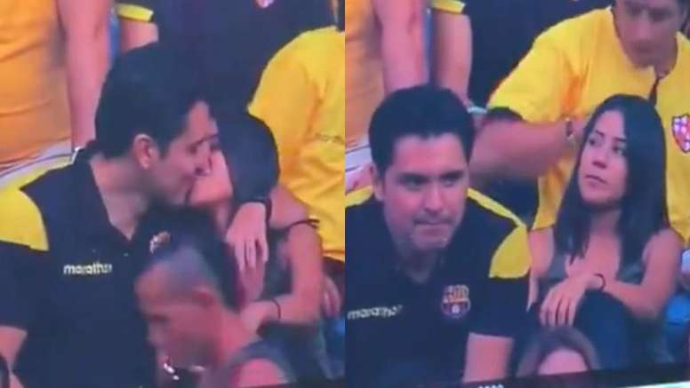 One Barcelona fan's kiss ended up being very costly. Capturas/Evelyngye