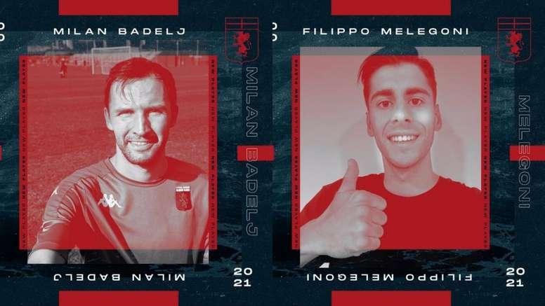 Genoa anunciou Melegoni, Badelj e mais três reforços. Twitter/GenoaCFC