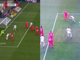Thomas Muller was offside as he was ahead of the ball, despite being level with Gnabry. Captura/ESPN