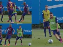 Dribles, sorrisos e gols... ninguém segurou Messi no treino. Capturas/FCBArcelona