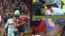 Tremendo golpe entre Cuesta y Marco Ruben que pudo acabar muy mal. Capturas/SporTV