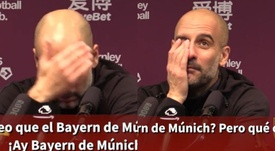 Guardiola briefly mixes up Bayern and City. Screenshot/ASTV