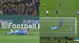 Grosse erreur de Cillessen et Piqué marque le troisième but. Capture/Movistar