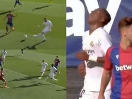 Vinicius inexplicably missed chance to make it 0-2. Captura/Movistar