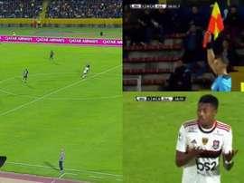 El milimétrico fuera de juego que dejó sin gol a Flamengo. Capturas/ESPN