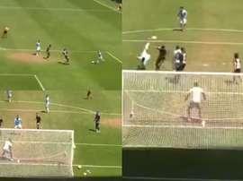Pallas anotó de chilena el gol de la jornada... pero fue en un amistoso. Capturas/saracho_