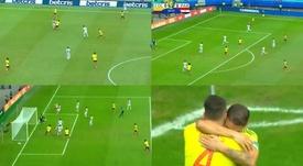 Colombia se adelantó ante Paraguay con un gol de Cuéllar. Capturas/DAZN