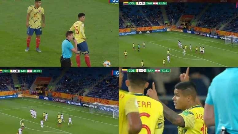 Así se lanza una falta: 'Cucho' Hernández la puso en la escuadra. Capturas/GolCaracol