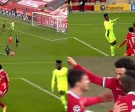 Onana calculó mal y le regaló el gol a Curtis Jones. Captura/Movistar