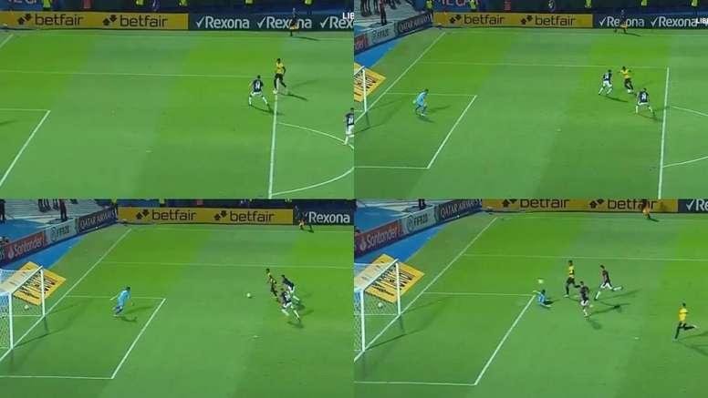 En la Libertadores le copiaron el gol a Messi. Capturas/Libertadores