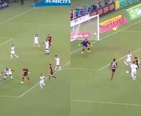 La genialidad de Gabigol para que Filipe Luis anote su primer gol. Captura/EsporteInterativo