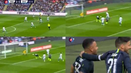 Ni cinco minuto duró el empate: De Bruyne la puso y Gabriel Jesus remató. Capturas/FACup