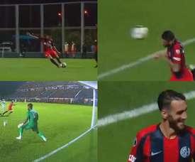 Un compañero se lesionó en el calentamiento, él entró en el once y marcó. Capturas/Libertadores
