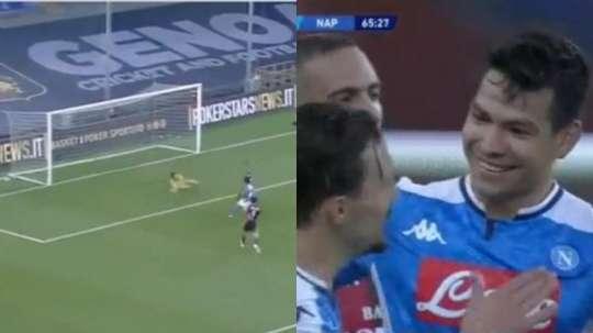 La rete di Lozano contro il Genoa. FoxSports