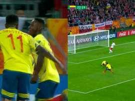 ¡Qué listo Angulo! Aprovechó el fallo de la defensa para adelantar a Colombia. Capturas/GolCaracol