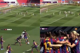 Oshoala abrió el marcador ante el Manchester City. Captura/BarçaTV