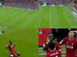 Milner presenteia Mané com o seu 50º gol. Captura/DAZN/ESPN2