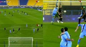Marco Fabián se estrenó como goleador con el equipo de Xavi. Captura/AlKassTwo