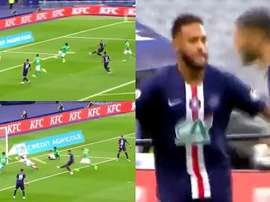 Neymar put PSG ahead in the French Cup final. Captura/BeinSports