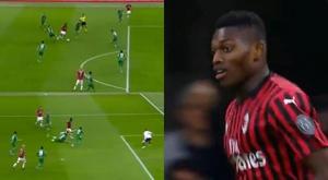 Montagem do gol de Rafael Leão para o Milan contra a Fiorentina. Catch / beINSports