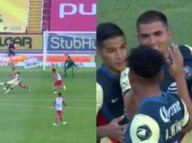 El VAR le quitó un gol a Necaxa y se lo dio al América en dos minutos. Capturas/TUDN