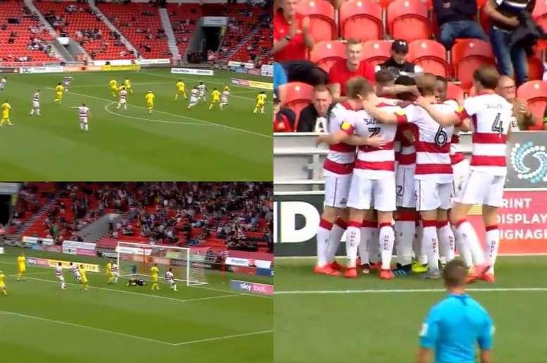 Brutal golazo en la victoria del Doncaster Rovers. Twitter/SkyBetLeagueOne
