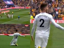 Matt Doherty inaugurou o marcador para o Wolves. Captura/ESPN