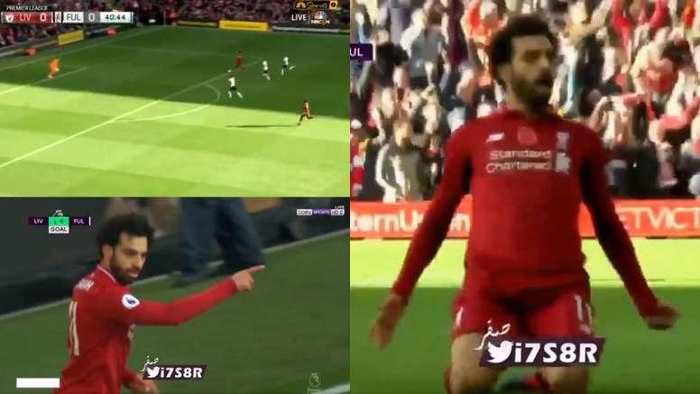 Del posible gol de Mitrovic al de Salah. Captura/Twitter