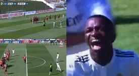 Vinícius anotó el tercero del Castilla. Captura/RealMadridTV