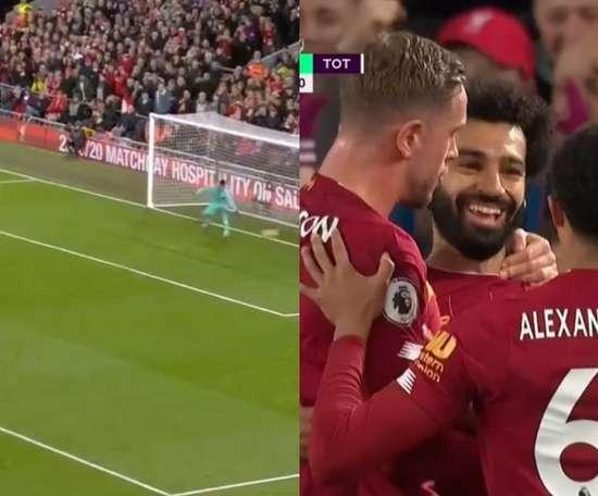 De pênalti, Salah marca o segundo do Liverpool. Capturas/DAZN