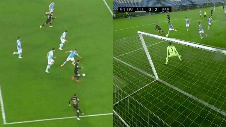 Olaza se metió el 0-2 en propia tras un jugadón de Messi. Captura/Movistar