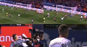 Rodrigo scored and was then sent off for Valencia at Osasuna. Capturas/BeinSports