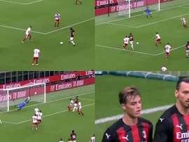 Il primo goal di Maldini con il Milan. Captura