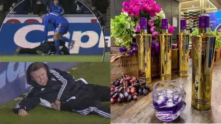 Pateado por Hazard a poseer uno de los vodkas más exclusivos. Capturas/SkySports/AUVodka