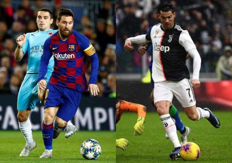 Os gols de Messi e CR7. AFP