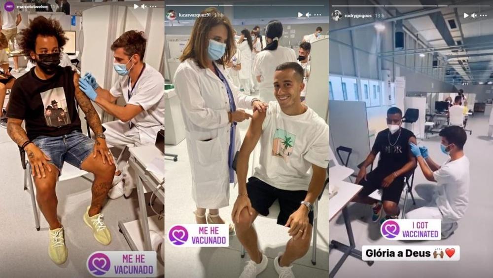 Los jugadores lo publicaron en Instagram. Instagram/marcelotwelve/lucasvazquez91/rodrygogoes