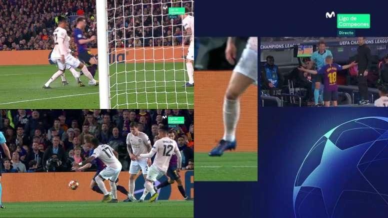 El árbitro le anuló un penalti al Barcelona. Captura/Movistar+