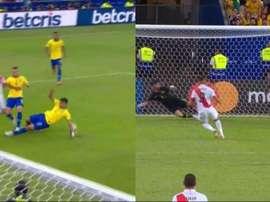Guerrero empatou o marcador de penalti. Capturas/SportTV1