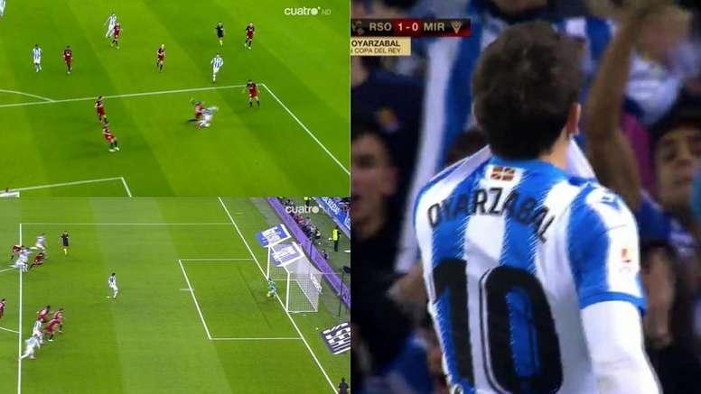 Cinco penaltis se han pitado ya en las eliminatorias del Mirandés. Captura/Cuatro