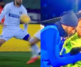 Gagliardini trató de convencer al colegiado tras el partido. Capturas/SkySport