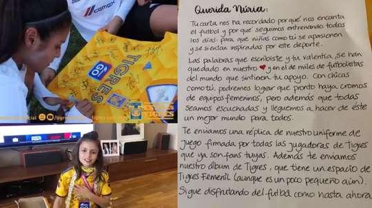 Nuria Cebrián publicó una carta dirigida a Panini pidiendo cromos femeninos. Twitter/TigresFemenil