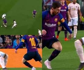 Fred, la última víctima de los caños de Messi. Capturas/ChampionsLeague
