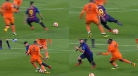 Suárez hizo el mítico regate de Riquelme sin tocar el balón. Capturas/Movistar+
