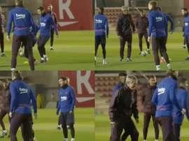 O olhar de Messi que valeu mais que a de Setién. Capturas/BarçaTV