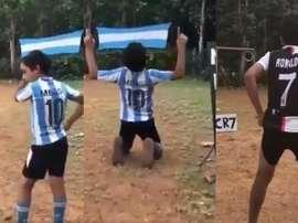 He copies Messi and Ronaldo. Instagram/abulias_1