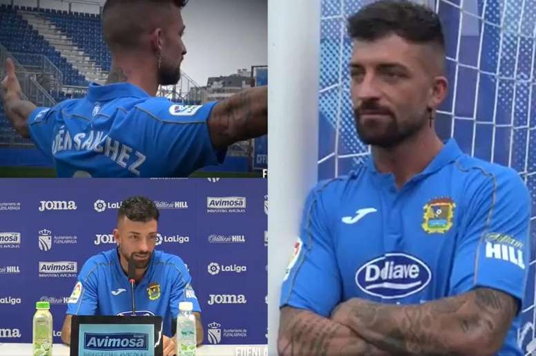 El Fuenla aprovechó la fama del ex jugador del Levante. Twitter/CFFuenlabrada
