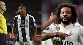Dança de brasileiros nas laterais de PSG e Juventus. EFE/AFP