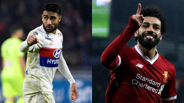 Montagem com as fotos de Fekir, do Olympique de Lyon, e do jogador do Liverpool Salah. BeSoccer