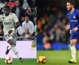 Hazard and Vinicius might be battling it out for the lleft hand side next season. EFE/AFP